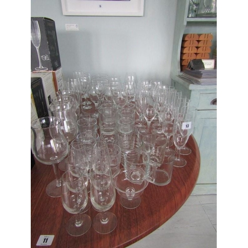13 - MIXED GLASSES, wines, flutes, sherries etc...