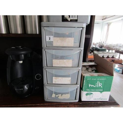 2 - TASSIMO COFFEE MACHINE with coffees & milks...