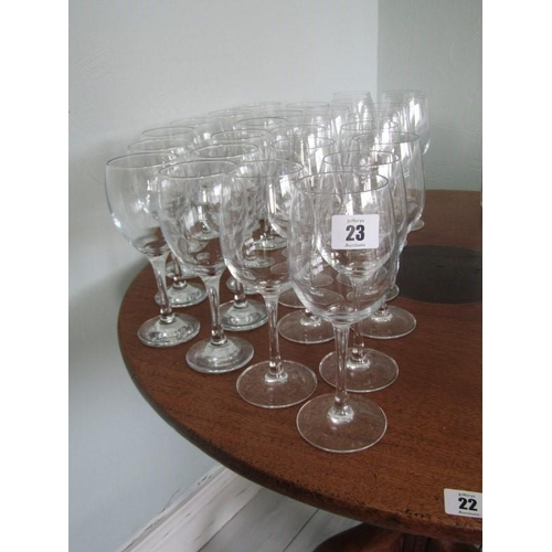 23 - APPROX 26 WINE GLASSES...