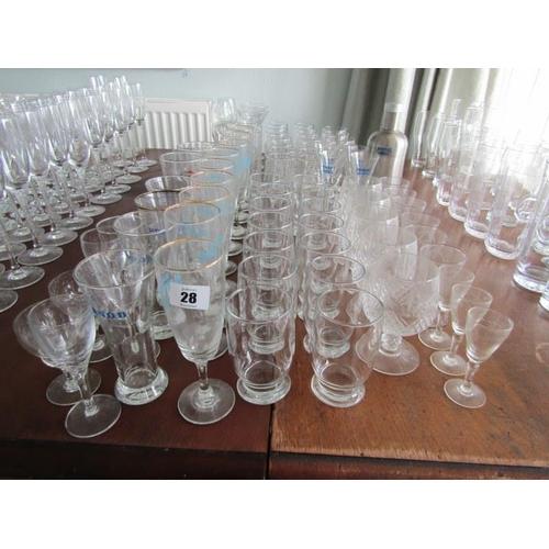 28 - ASSORTED GLASSES, tumblers, shot glasses etc...