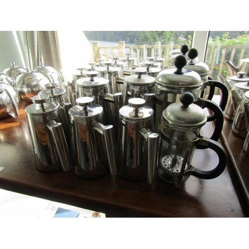 34 - SELECTION OF STAINLESS COFFEE POTS water jugs & cafetiere's...