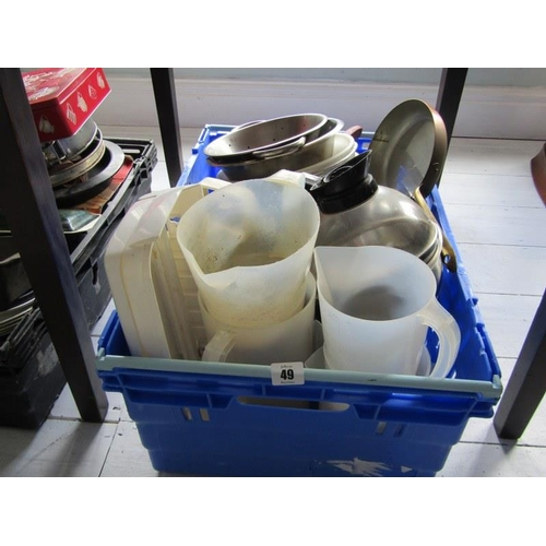 49 - KITCHENWARE, assorted colanders, pans, baking trays etc, in 2 crates...
