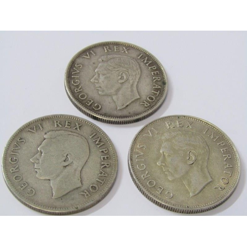 26 - SOUTH AFRICA SILVER HALF CROWNS x 3, 1940/1942 & 1941, IN HIGH GRADE...