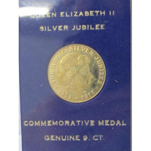 4 - 1977 GOLD JUBILEE MEDAL, HM 9CT, in display case, 2.5grm...