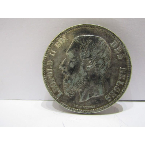 48 - 1868 BELGIUM SILVER 5 FRANCS, HIGHER GRADE...