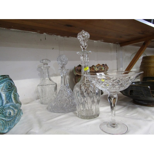 13 - CUT GLASS, 2 cut glass decanters, 1 other and pedestal cream dish...