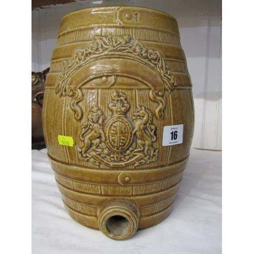 16 - SPIRIT BARREL, brown glazed stoneware spirit barrel...