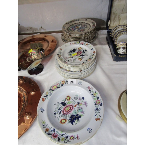 28 - COPELAND SPODE, collection of graduated ironstone tableware, together with Booths similar dessert pl...