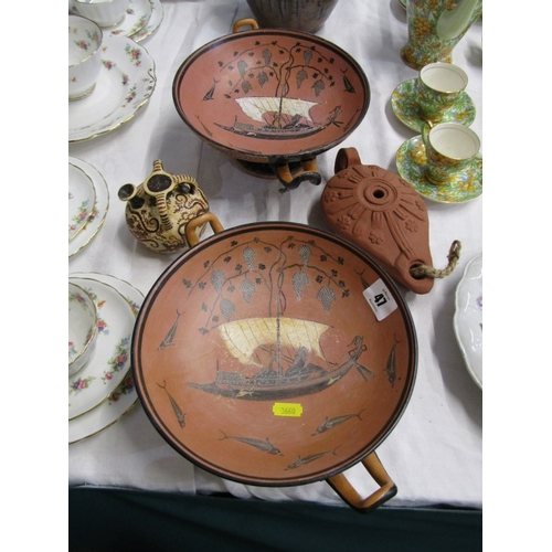 47 - GREEK REPLICA POTTERY, pair of terracotta twin handled comports, oil lamp and small vase...