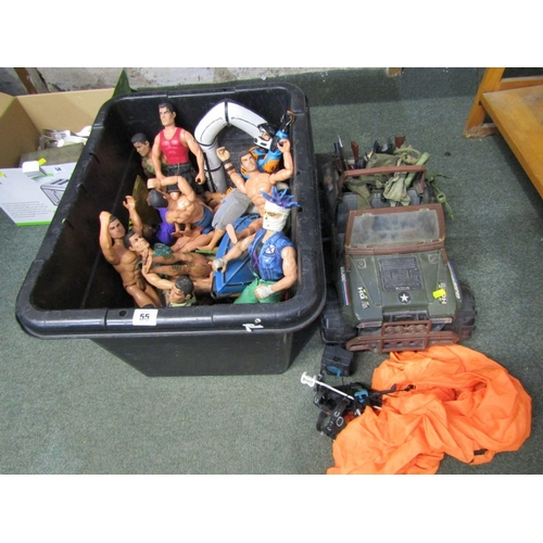 55 - ACTION MEN, collection of assorted Action Men and similar figures with jeep and other accessories...