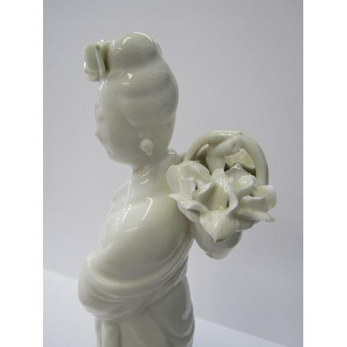 17 - ORIENTAL CERAMICS, Blanc-de-chine figure of female deity Si Wang Mu (slight damage) 12.5