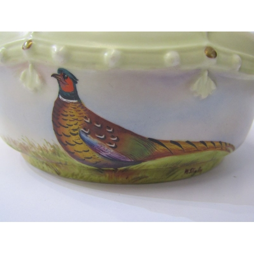 2 - WORCESTER STINTON, Locke & Co. lidded preserve pot decorated with pheasant signed W Stinton, pattern...