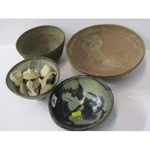 21 - STUDIO POTTERY, Ian Godfrey , group of 4 small bowls & sculptural ornaments...