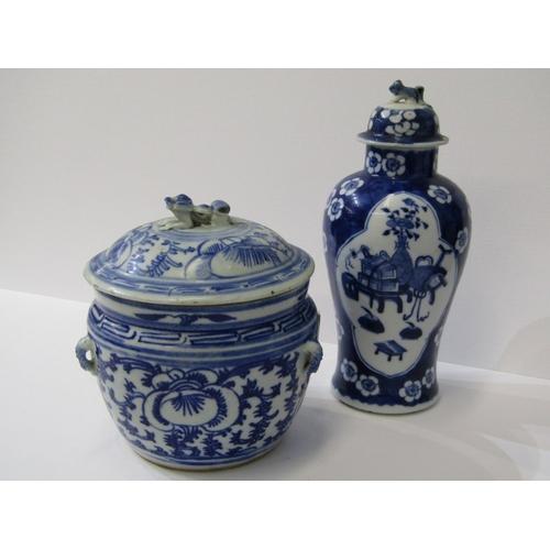22 - ORIENTAL CERAMICS, under glaze blue porcellainous stoneware lidded 6