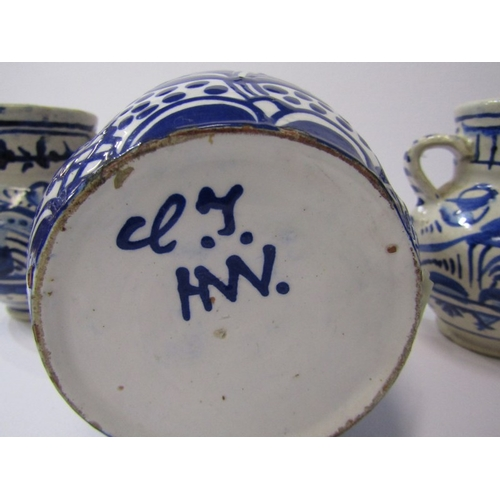 24 - DELFT, pair of twin handled bird & floral decorated 4
