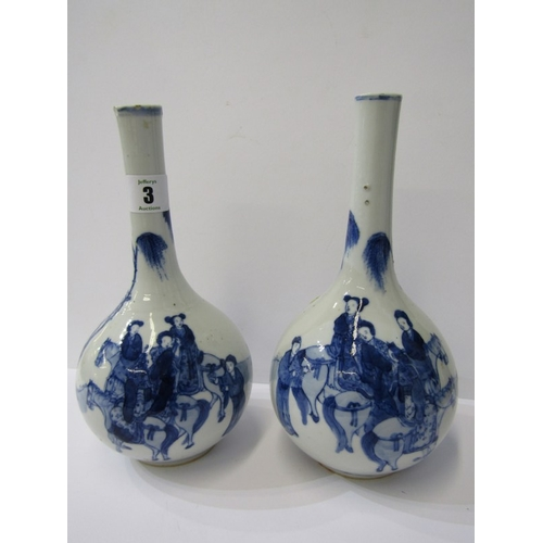 3 - ORIENTAL CERAMICS, pair of early Chinese underglaze blue decorated bottle vases with a group of trav...