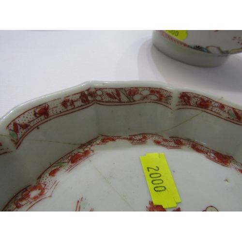 30 - ORIENTAL CERAMICS, CHINESE LOBED EDGE TEAPOT STAND a/f, also Famille Rose 5.5