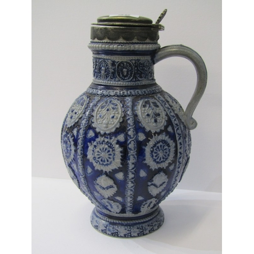 36 - WESTERWALD, a Rhenish stoneware spherical bodied jug with plated mount and lid 9.5