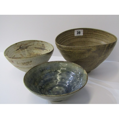 39 - STUDIO POTTERY, Ian Godfrey collection of 3 conical bowls (1 with rim chip)...