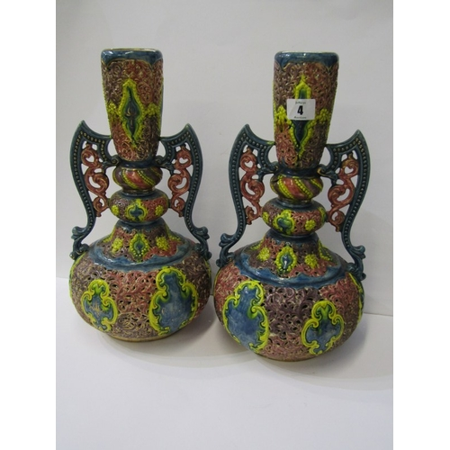 4 - ZSOLNAY-STYLE, pair of pierced pottery, 14.5