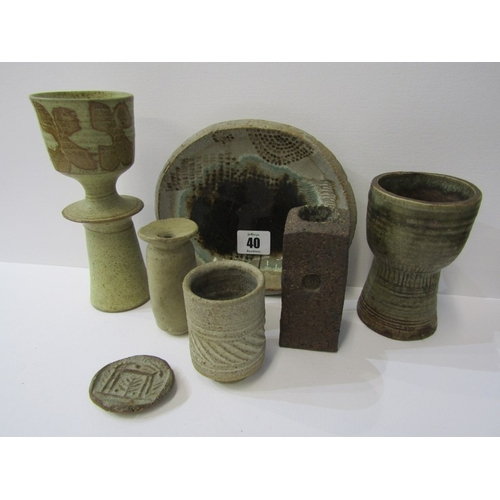 40 - STUDIO POTTERY, Ian Godfrey collection of specimen vases, candle holder and other table ornaments...
