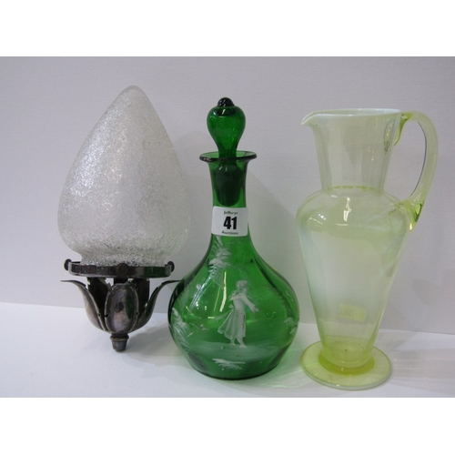 41 - MARY GREGORY, green glass decanter, also Edwardian vaseline glass jug and textured glass hanging lig...