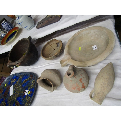 43 - ARCHAIC POTTERY, Collection of Roman style earthenware pots, together with a Breton hanging casserol...