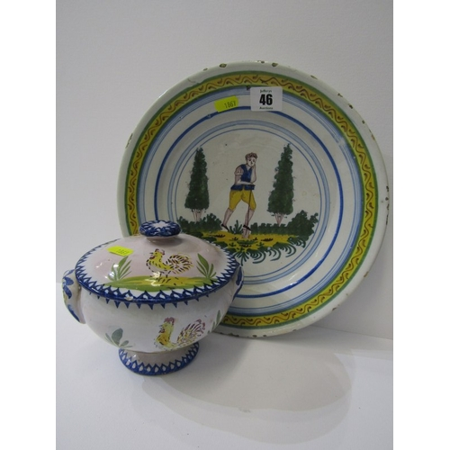46 - FAIENCE, Quimper-style, shallow dish depicting a gardener at work together with a similar lidded coc...