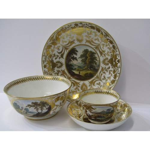 47 - REGENCY CROWN DERBY, a fine gilded part tea service decorated with named topographical reserves incl...