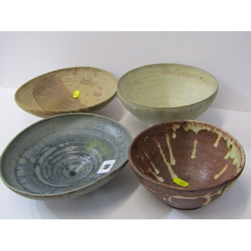 48 - STUDIO POTTERY, Ian Godfrey collection of 4 bowls of various sizes and glazes...