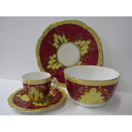 49 - VICTORIAN TEA SERVICE, Mid 19th Century gilded claret bodied tea service including teapot, sucrier a...