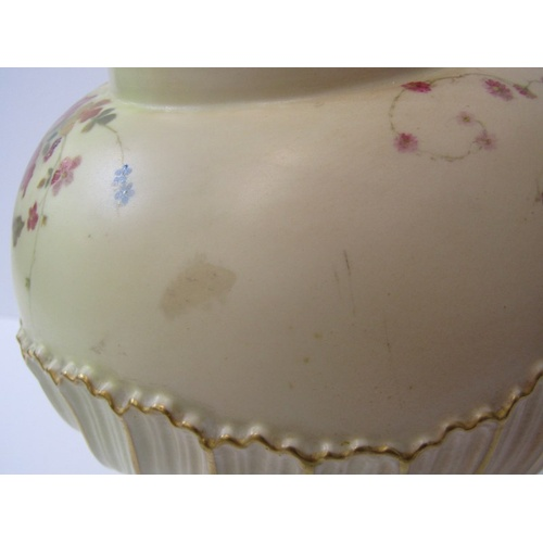 1 - ROYAL WORCESTER PEACH GROUND, gilt heightened floral decorated lidded pot pourri vase, pattern no.17...