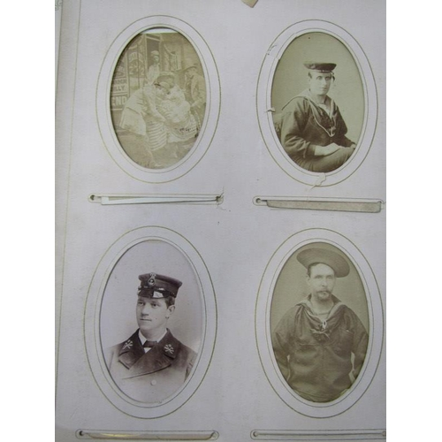116 - VICTORIAN PHOTO ALBUM MUSICAL BOX, embossed leather cased photo album with musical box interior (req...