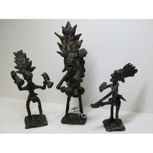 124 - ETHNIC METALWARE, a group of 3 ethnic metal sculpture musicians, 6.75