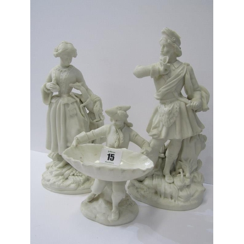 15 - PARIAN, pair of 19th Century Parian figures of Huntman and Companion, 11