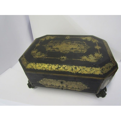 158 - CHINESE LACQUERED WORKBOX, early 19th Century octagonal gilt decorated needlework box with fitted in...