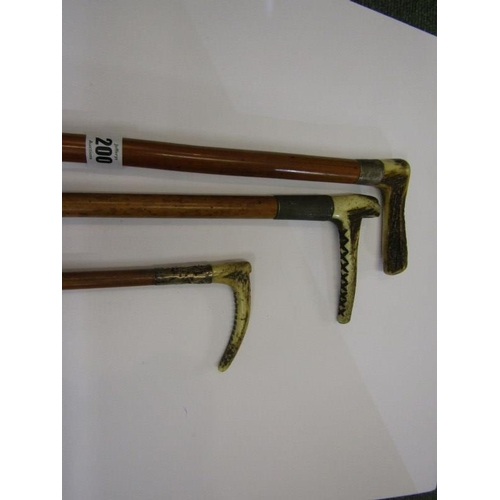 200 - EQUESTRIAN, silver mounted antler handled riding crop, also similar walking stick and swagger stick...