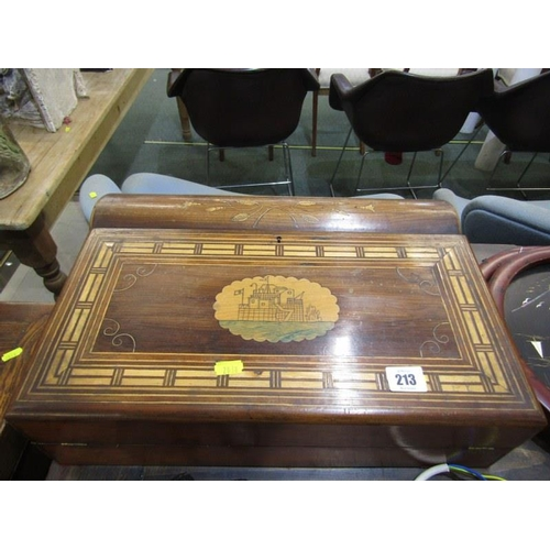 213 - ANTIQUE MARQUETRY WRITING BOX, early 19th Century inlaid walnut writing slope with Napoleonic - styl...