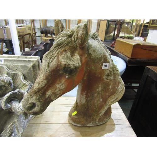 218 - GARDEN STATUE, a stoneware horse head garden ornament, 16