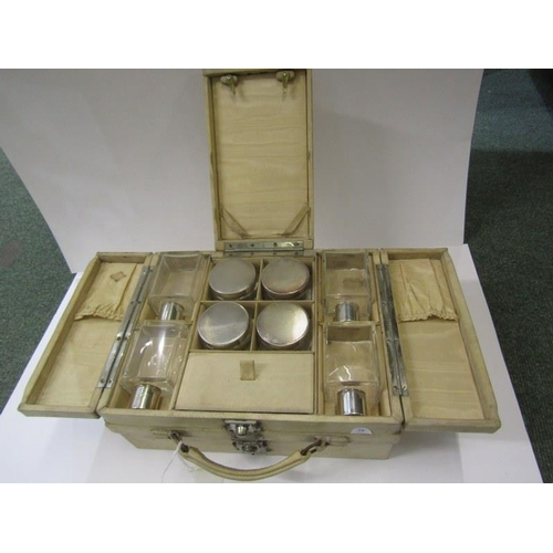 221 - LADIES DRESSING CASE, Art Deco design ladies case fitted with HM silver jars and perfume bottles, Bi...