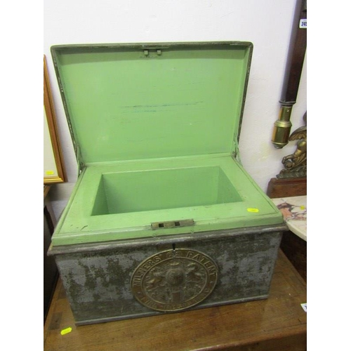 244 - EARLY METAL DOCUMENT BOX, Milners patent fire resistant document box, 20