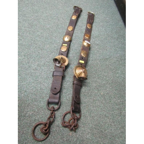 325 - ANTIQUE HARNESS, brass studded horse straps...