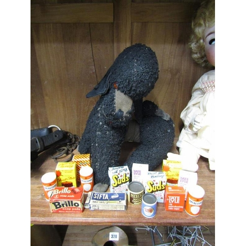 326 - TOYS, Merrythought poodle, with collection of miniature advertising items...