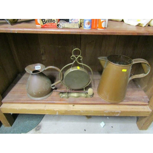 328 - METALWARE, Edwardian brass table gong & two copper water jugs...