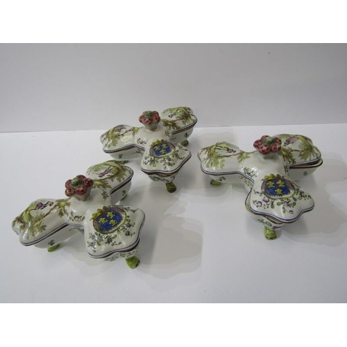 62 - FRENCH FAIENCE, set of 3 trefoil lidded small serving dishes, signed on base