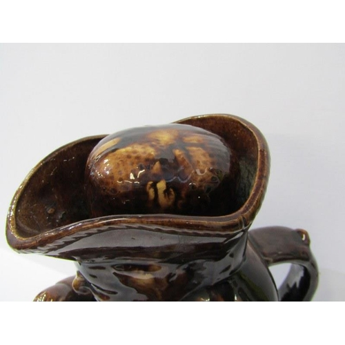 67 - ANTIQUE TOBY JUG, treacle glazed snuff taking toby jug with cap, 9