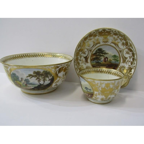 69 - REGENCY CROWN DERBY, a fine gilded part tea service decorated with named topographical views includi...
