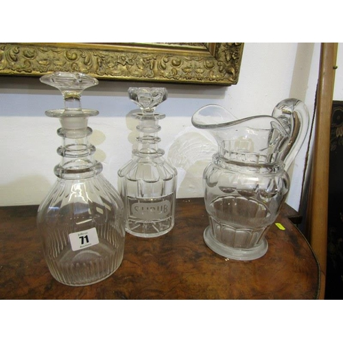 71 - ANTIQUE GLASS DECANTERS, Georgian decanter with triple ring neck & mushroom stopper, another inscrib...
