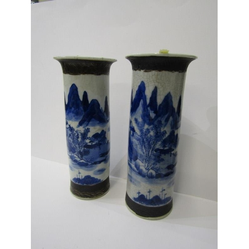 75 - JAPANESE VASES, a pair of Japanese crackle glaze cylindrical form vases, decorated landscapes, 10