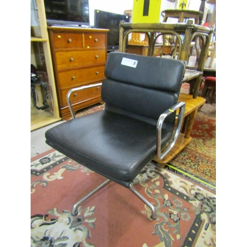 831 - RETRO SWIVEL CHAIR, Chrome framed and black leather effect chair...